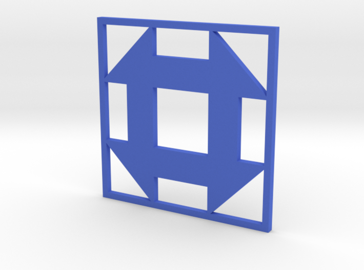 Churn Dash Quilt Block Pendant 3d printed