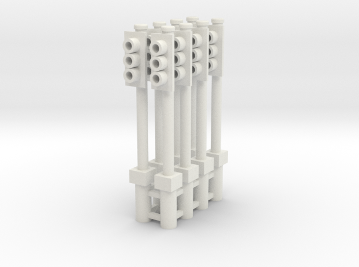 Single Traffic Light Signal Pole Assembled 1-87 HO 3d printed