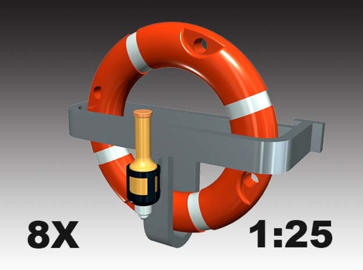 Life ring buoy 75 cm - 1:25 - 8X 3d printed