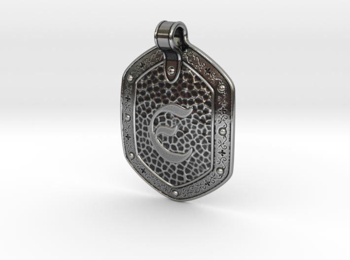 Hammered Pendant E 3d printed