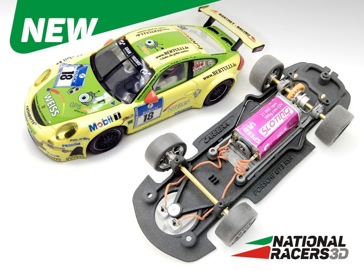3D Chassis - Carrera Porsche 911 GT3 RSR (Combo) 3d printed Chassis compatible with Carrera model (slot car and other parts not included)