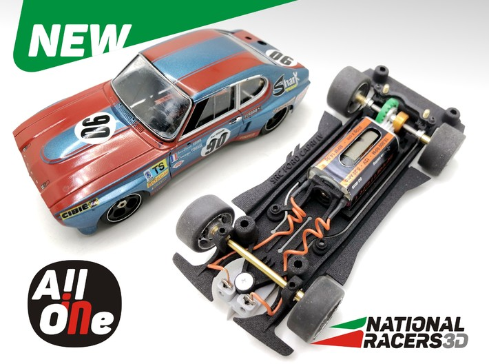 Chassis - SRC Ford Capri LV (Inline - AllinOne) 3d printed Chassis compatible with SRC models (slot car and other parts not included)