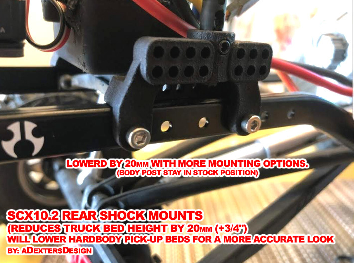 SCX10ii,  -20mm SHOCK Mounts 3d printed Lowers Bed by 20mm and adds 12 more mounting hole options