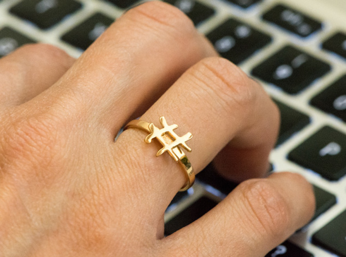 Minimalist Hashtag Ring Size 7 3d printed