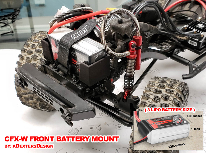 Front LiPo Battery Mount for CFXW / CFX / CMX 3d printed V1 - Showing Mounted Battery up front