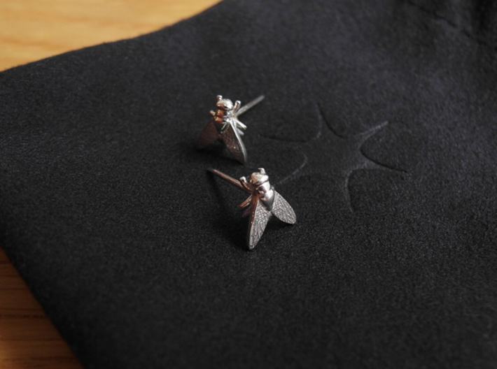 Fly Earring 3d printed Polished Silver