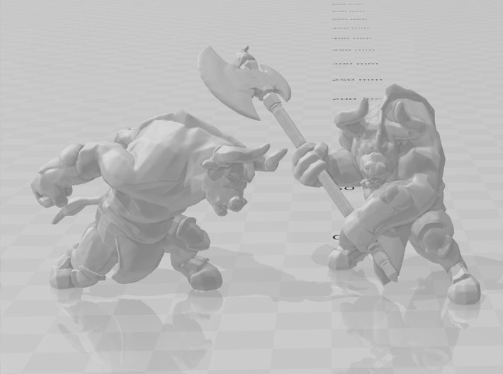 Minotaur with Axe DnD miniature games rpg dungeons 3d printed