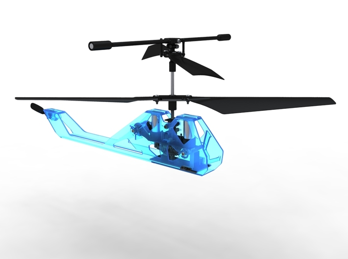 R/C Drone   X2 Helicopter   a Syma S107 Mod 3d printed Theoretical Translucent Blue Plastic Material Render - In Use shot - Front