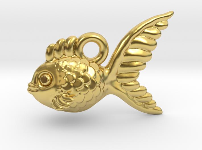 Pendant: 'Goldfish' 3d printed