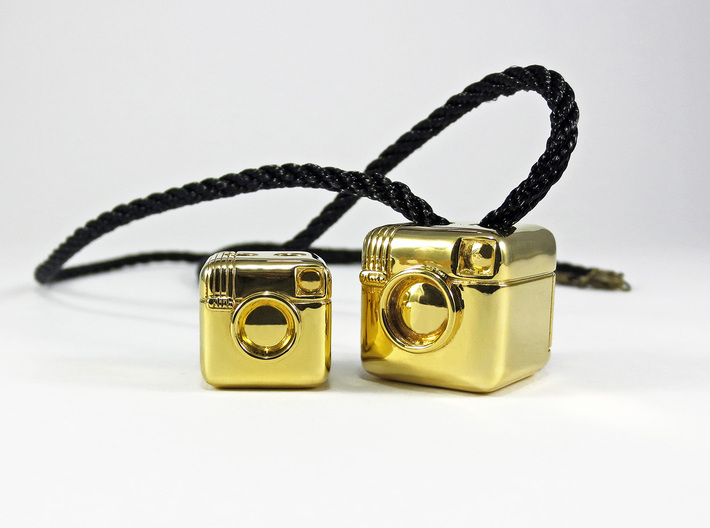 Instagram Style Camera (Pendant 16mm) 3d printed 16mm / 20mm - Polished Brass