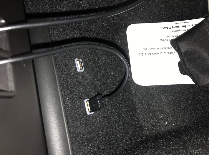 Tesla Model 3 USB extension adapter 3d printed fully installed spacer