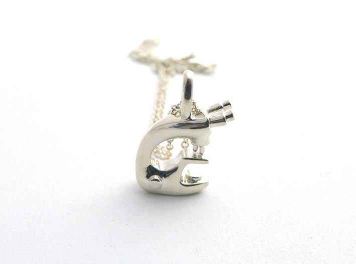Microscope Pendant - Science Jewelry 3d printed Microscope pendant in sterling silver