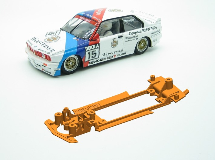 PSSX01001 Chassis for Scalextric BMW M3 E30 3d printed