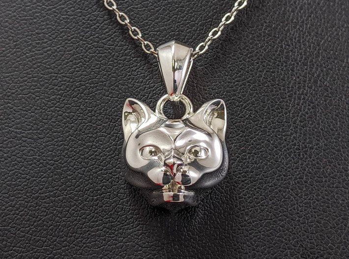 Cat Pendant 3d printed This material is Polished Silver (Chain not included.)