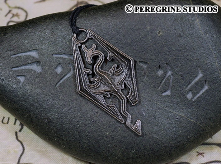 Pendant - Imperial Dragon 3d printed Polished Grey Steel