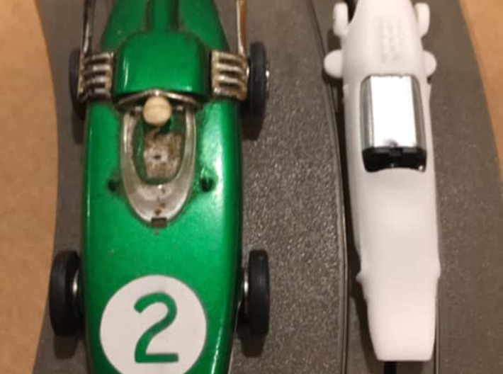 HWP 1965 Formula Racer 1:64 Scale Slot Car 3d printed Compare the size to the old Tyco S car on the left