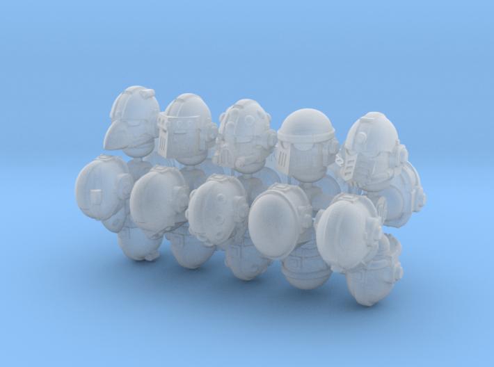 28mm Astrowarrior helmets various 3d printed