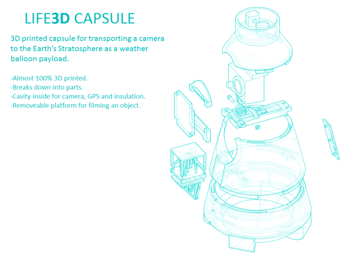 Life3D Weather Balloon Capsule - Platform Bottom 3d printed Exploded View of All Parts