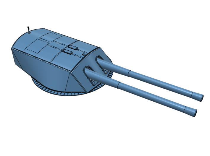 """1/48 USS New York or USS Texas 14""""/45 Turret 3d printed Assembled turret. Barrels available separately."""