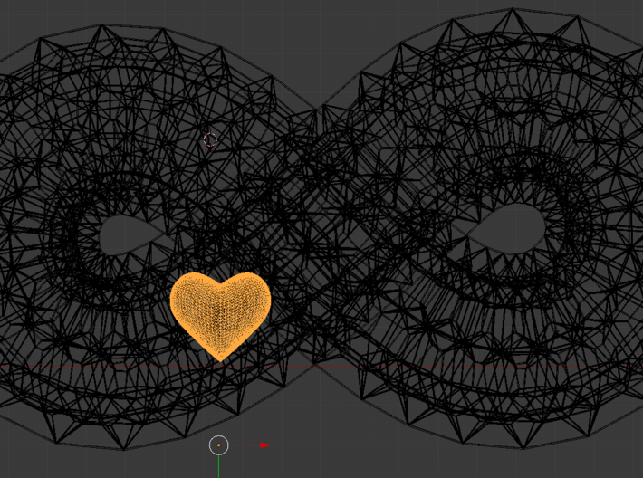 Infinite Loop and Hidden Heart Pendant/Bracelet 3d printed Screen shot from modeling showcasing the hidden heart free to move inside.