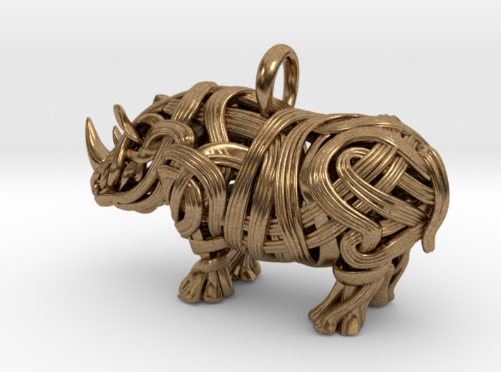 The Rhino Pendant  3d printed Rhino pendant 3D printed in Raw Brass