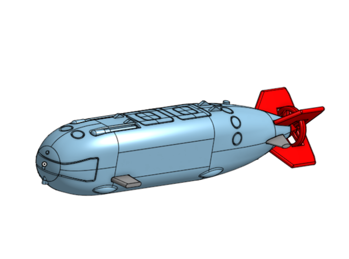 Dry Combat Submersible, 1/350 scale 3d printed