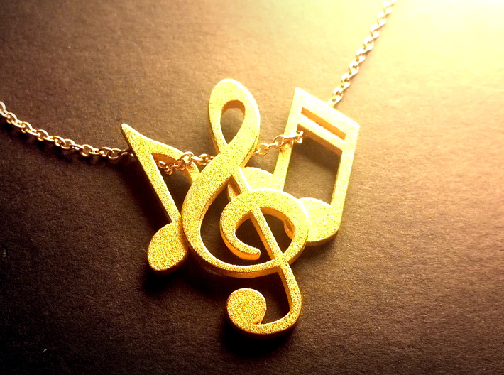 Music Necklace 3d printed Music Note Charm with gold chain (not included) threaded through eighth note and double sixteenth note