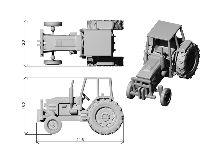 Farm Tractor Ver01. 1:160 Scale (N) 3d printed Dimensions at 1:160 Scale