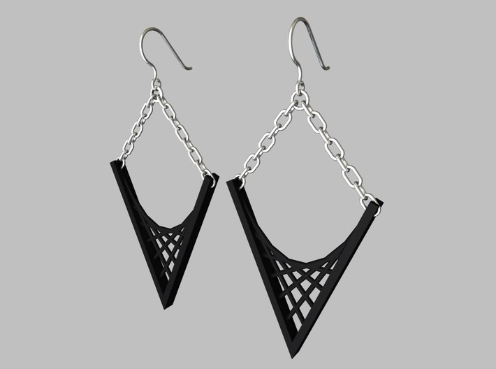 Parabolic Suspension Earrings 3d printed Black Strong and Flexible Earrings with Ear Wires and Chain (Not Included)