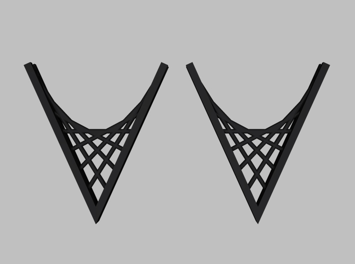 Parabolic Suspension Earrings 3d printed Front View of Black Strong and Flexible: Rendering