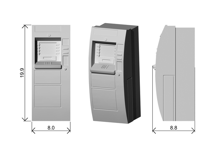 ATM Machine Ver01. 1:87 Scale (HO) 3d printed Dimensions at 1:87 Scale