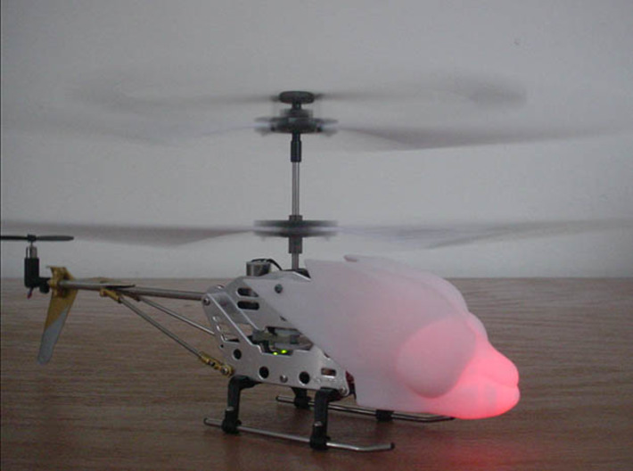 SYMA S107 Dragonfly canopy 3d printed LED glows from inside head!