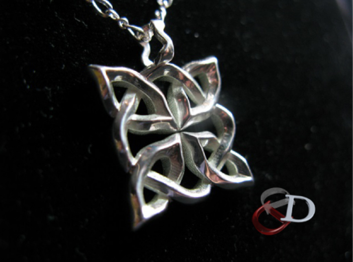4 Clover Knot - Pendant 3d printed Actual Product Image. Shown in polished silver. Chain not included