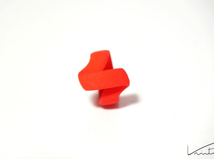 Twist Parallel ring 3d printed Red Strong & Flexible