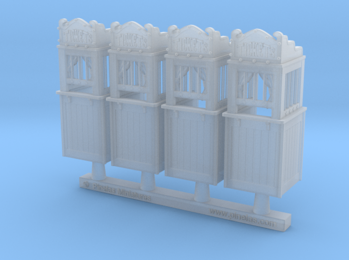 Carnival Ticket Booth 01. 1:87 Scale (HO) x4 Units 3d printed