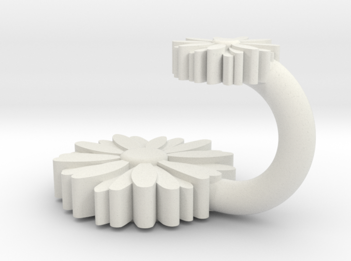 Hook with daisies 3d printed