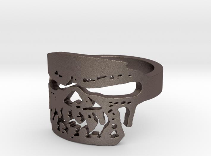 Fallen Angel Biker Skull v2 Ring Size 13 3d printed