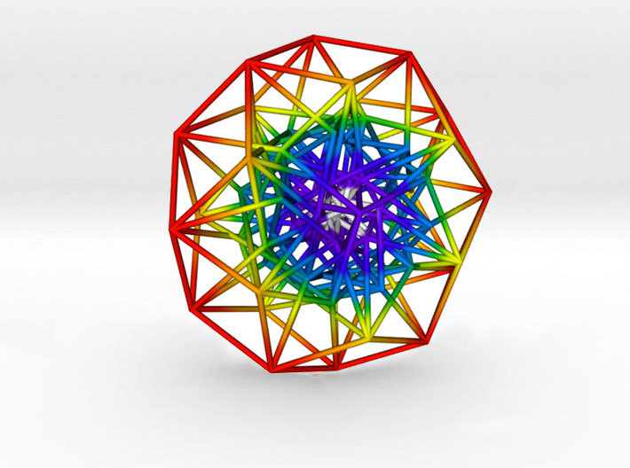 Toroidal 6D Hypercube Rainbow 200mm diameter 3d printed Slightly off centre to show complexity