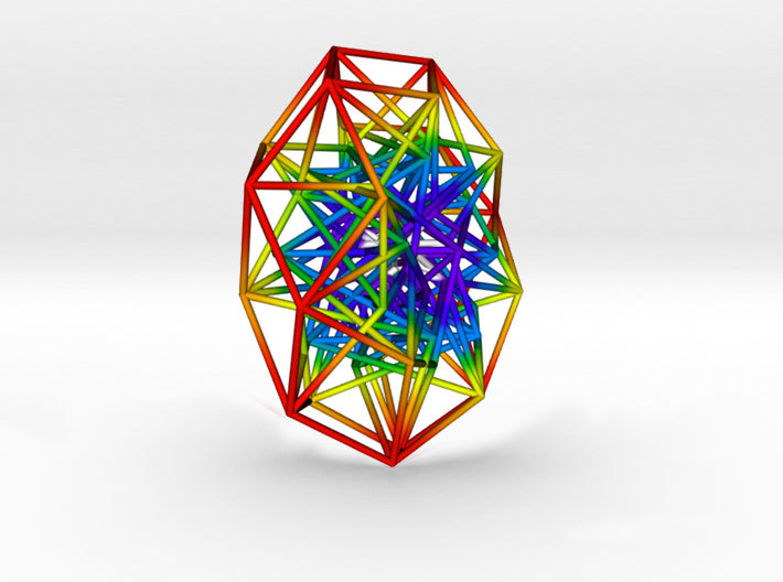 Toroidal 6D Hypercube 200mm diameter Rainbow 3d printed Side on to show inner structure