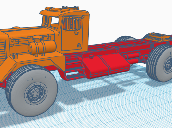 1/50th Kenworth 953 early truck CAB only 3d printed Shown on frame for reference
