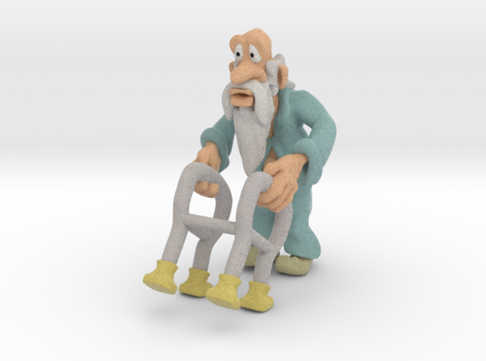 Old man and walker 3d printed