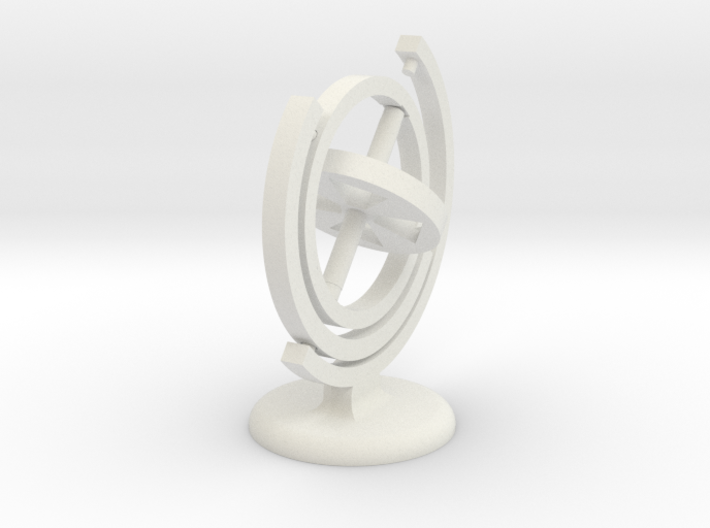 Gyroscope with a stand (in white) 3d printed