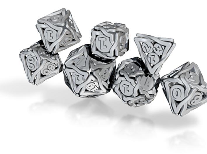 'Twined' Dice Gaming Die Set +10D10/Decader 7 dice 3d printed