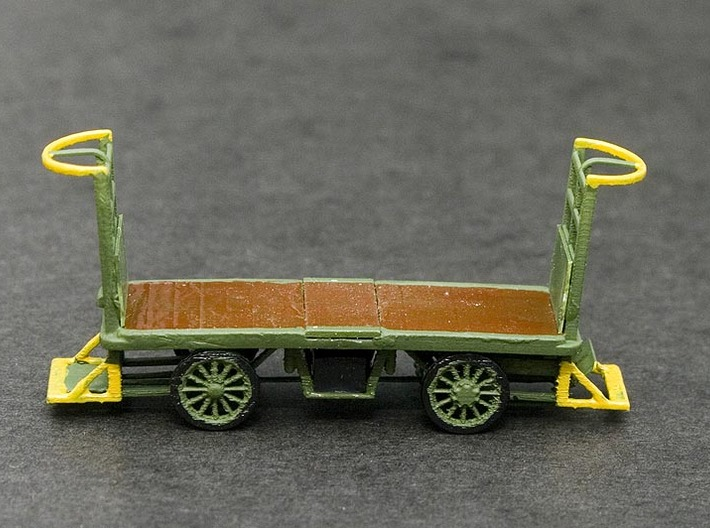 HO Scale (1/87) - Electric Baggage Cart 3d printed Painted 3D print in FUD.  Painted with Acrylic Model Paints.