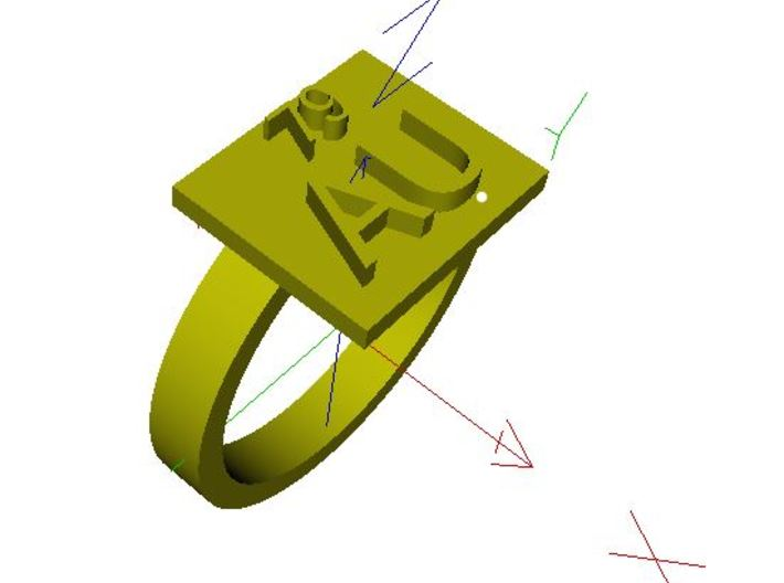 Gold Ring AU Gold Elemental Symbol 3d printed A render in a different software.