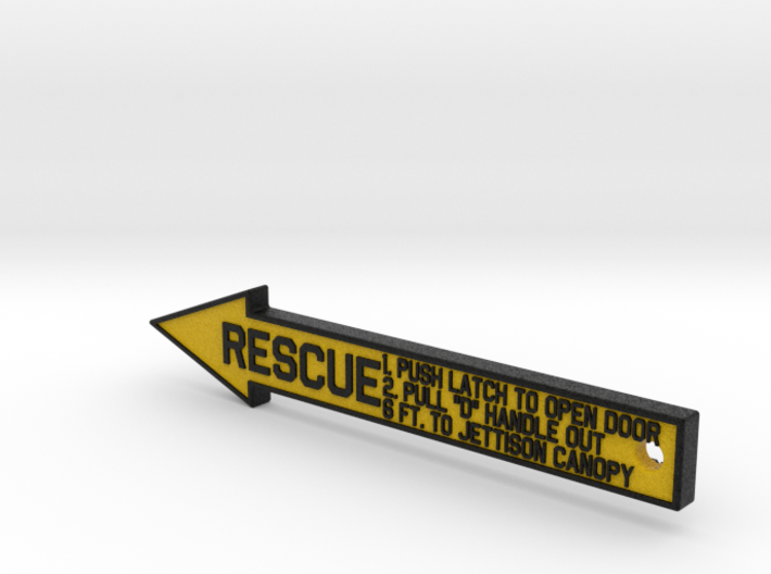 4 inch KeyChain RESCUE Black-Yellow Sign 3d printed