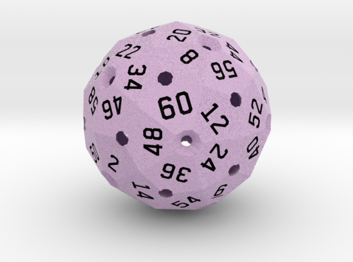 Hollow D60 3d printed Computer render in full color, showing the light purple.