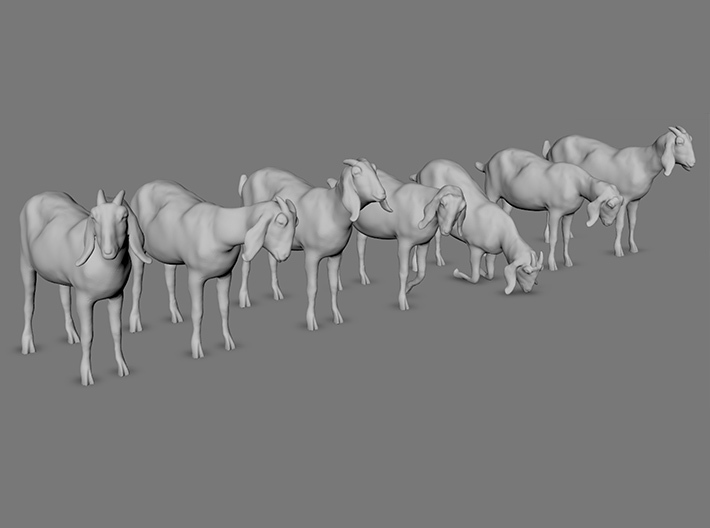 H0 - 1/87) scale Nubian goats - set of 7 3d printed