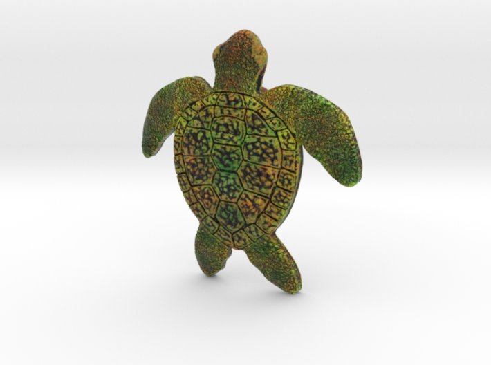 Full Colour Turtle Pendant 3d printed