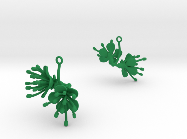 Cherry earring with two large flowers 3d printed